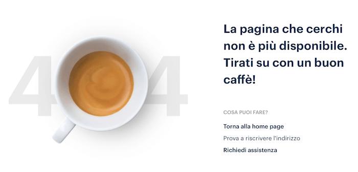 pagina 404 personalizzata Lavazza per un contenuto che non c'è più
