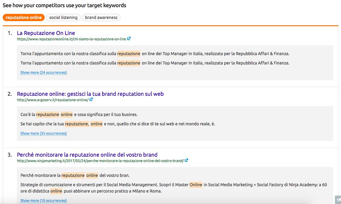 SEO content template per blogger: un tool utile per osservare i concorrenti