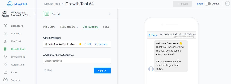 Configura il messaggio del tuo chatbot con Manychat