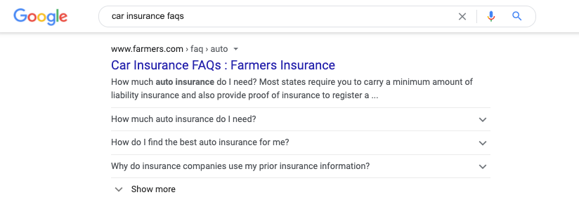 FAQ SERP feature