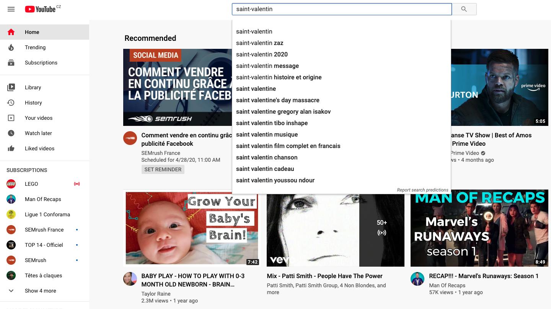 La saisie semi-automatique de Youtube pour la recherche de mots-clés