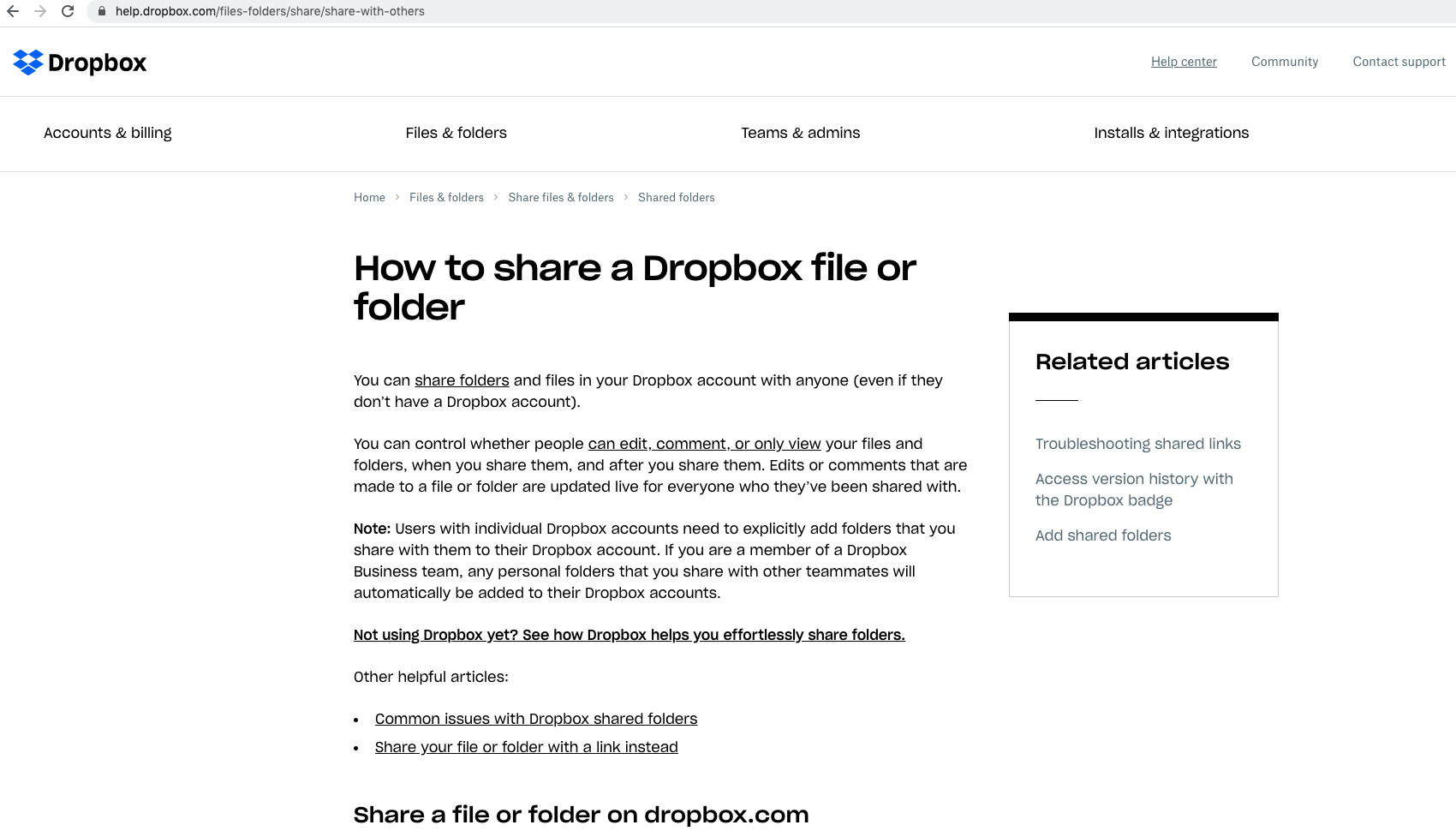 Example of a Dropbox Answer page