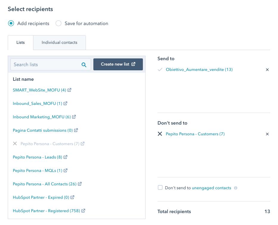 segmentazione dei contatti per l'invio di una newsletter