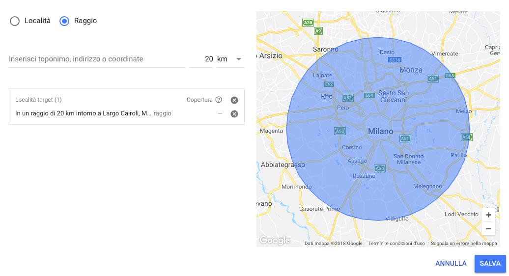 Opzione di geo targeting per raggio nella Ricerca avanzata di Google Ads