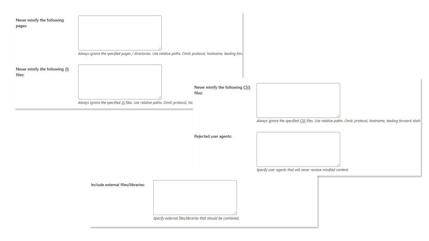 Panel per la scelta dei file da minificare
