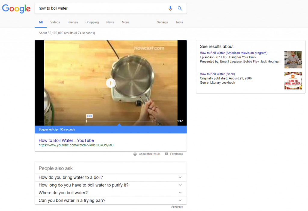 video featured snippet