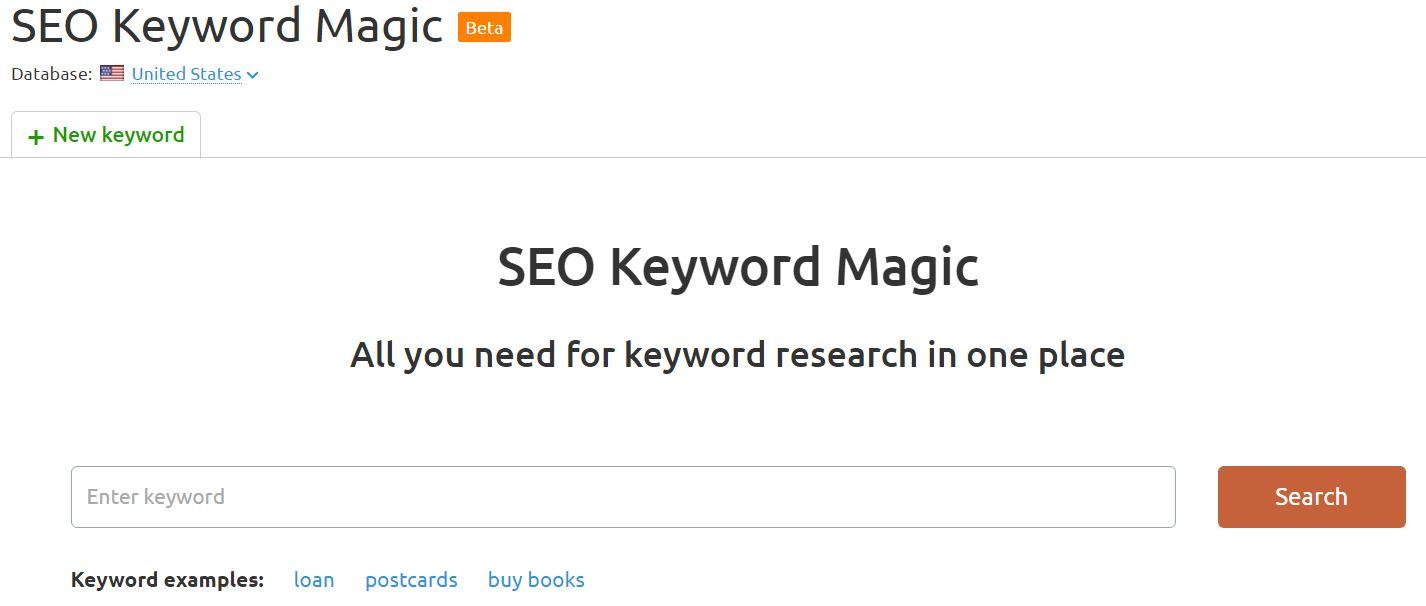 SEMrush SEO keyword magic tool