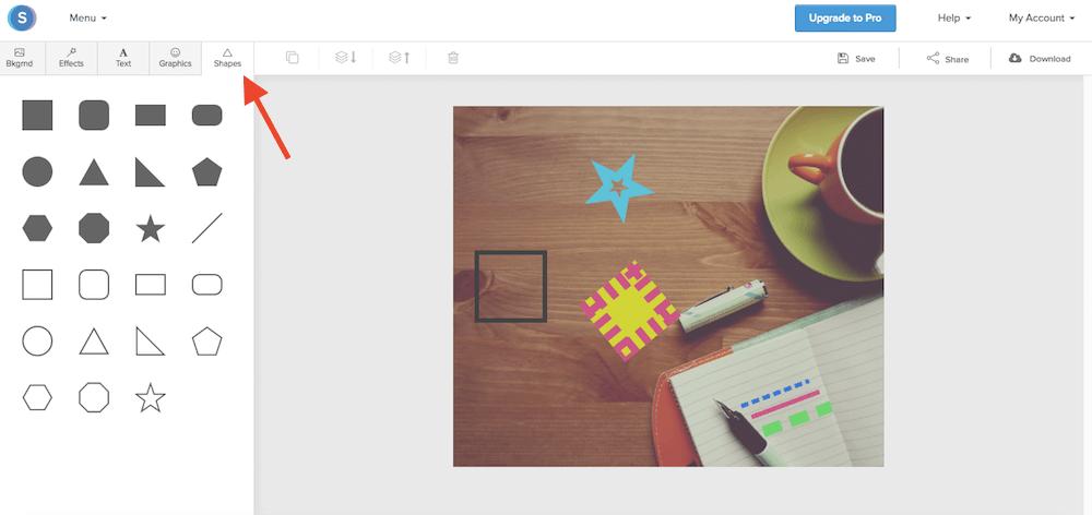 Snappa: la funzione Shapes del programma di grafica gratuito