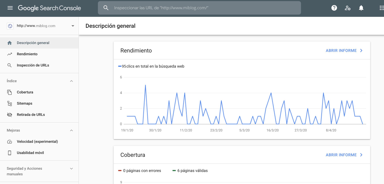 Cómo empezar un blog desde cero - Google Search Console