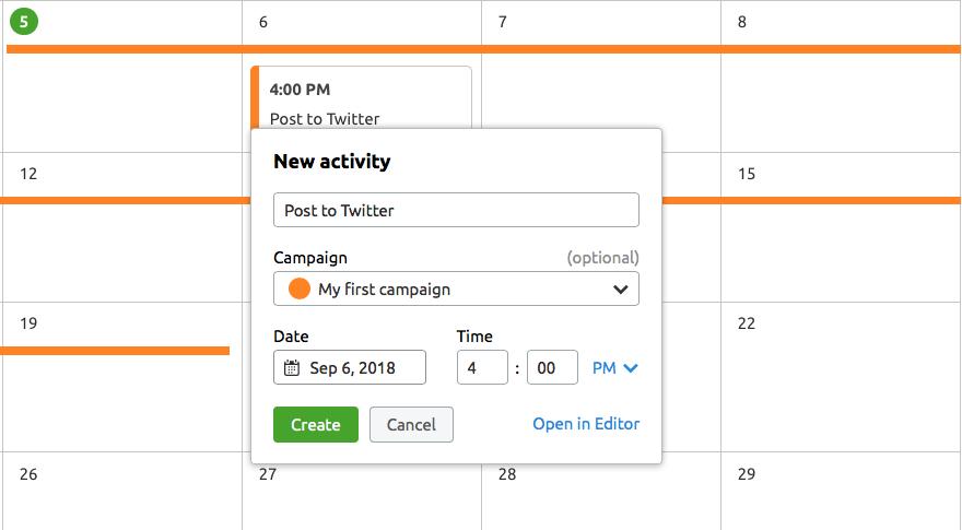 Calendario de marketing - Nueva actividad