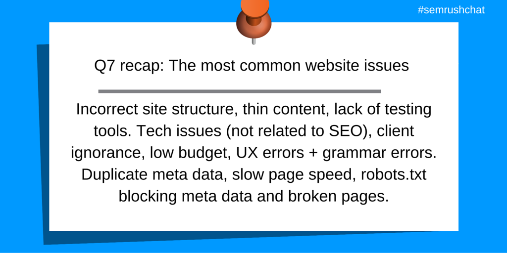 Most common website issues sum