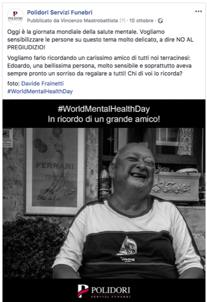 Post per il #worldmentalhealthday che sfrutta il newsjacking