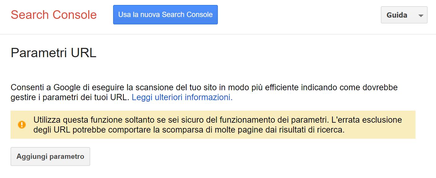 Gestione parametri in Google Search Console