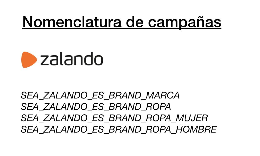 Ejemplo de nomenclaturas para campañas de Google ads de Zalando