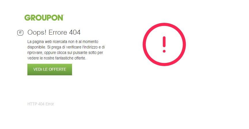 Groupon pagina 404
