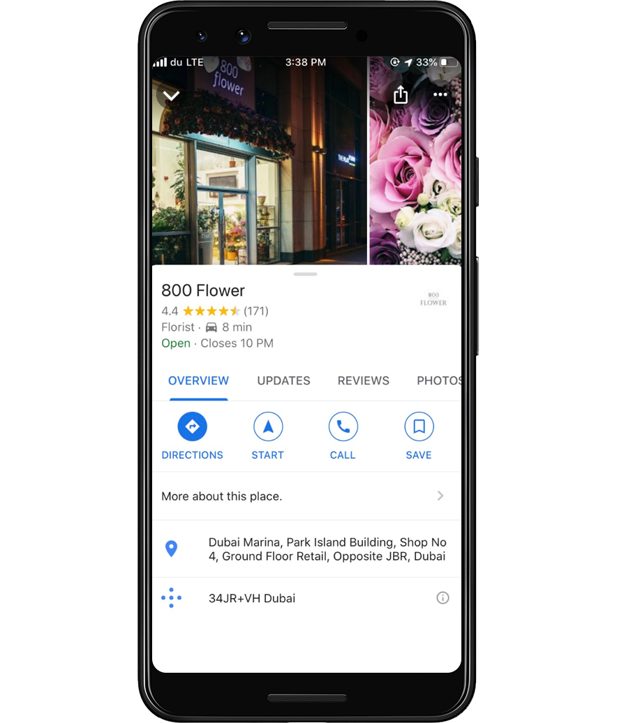 google my business listing on mobile example