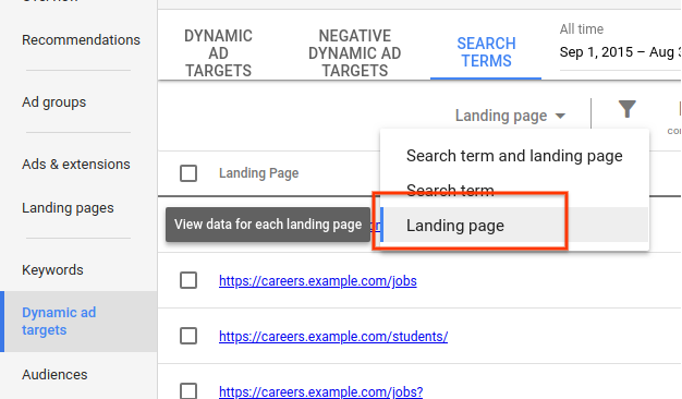 URL level stats in Dynamic Search Ads
