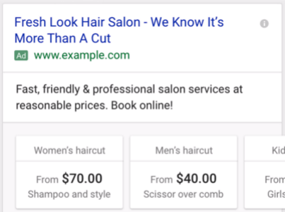 New Price extensions in AdWords example