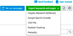 Import options in SEO Ideas