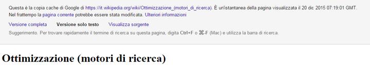 Verifica del contenuto del sito attraverso la cache di Google