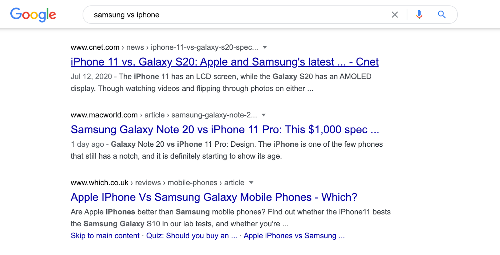 Samsung vs iPhone SERP screenshot