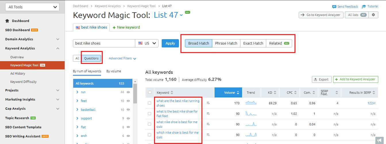 voice keyword research data semrush tool