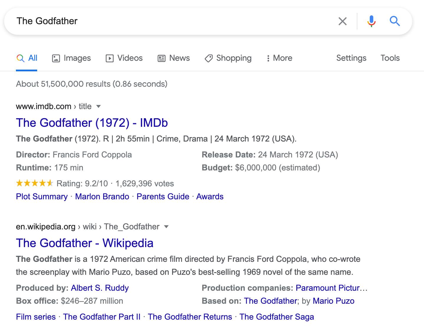 the godfatehr movie snippet on serp