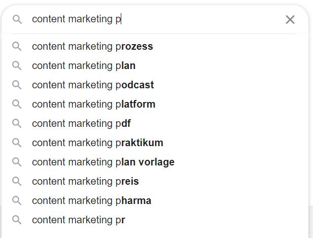 Suchvorschläge von Google