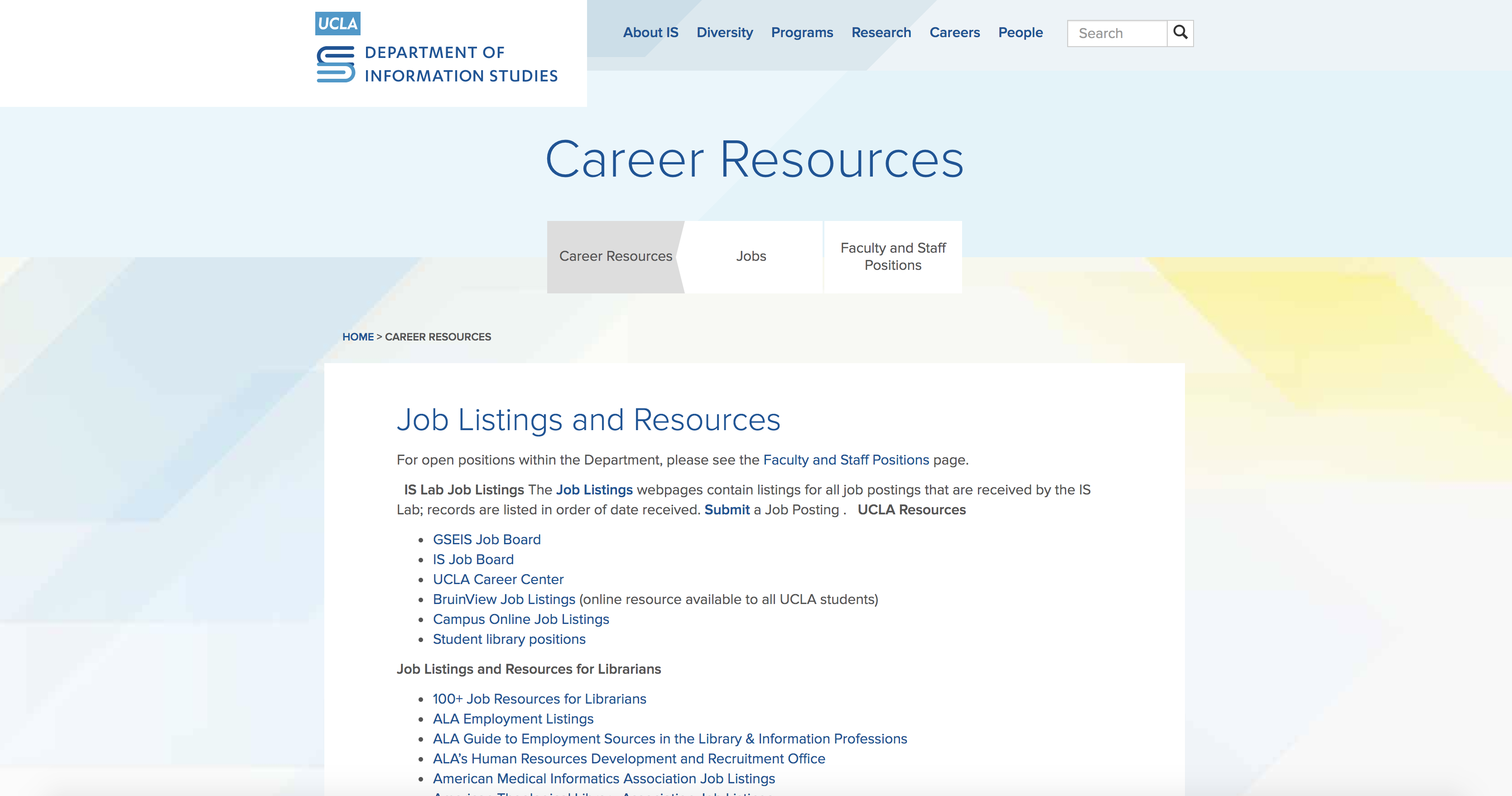 UCLA Career Resources screenshot