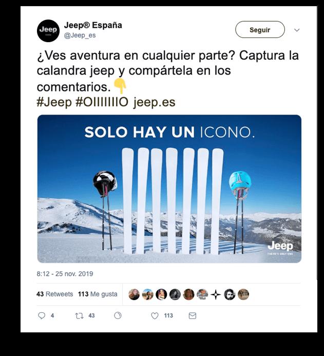 Presencia visual en redes sociales - Ejemplo Jeep