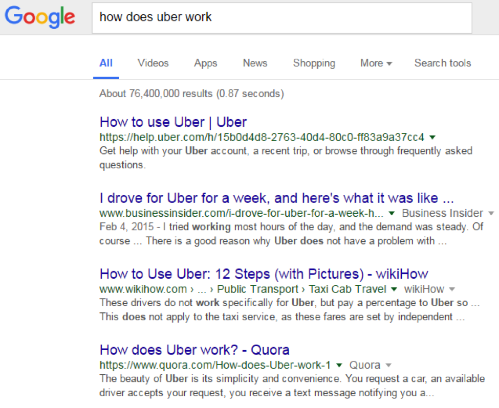 Google Search: Uber