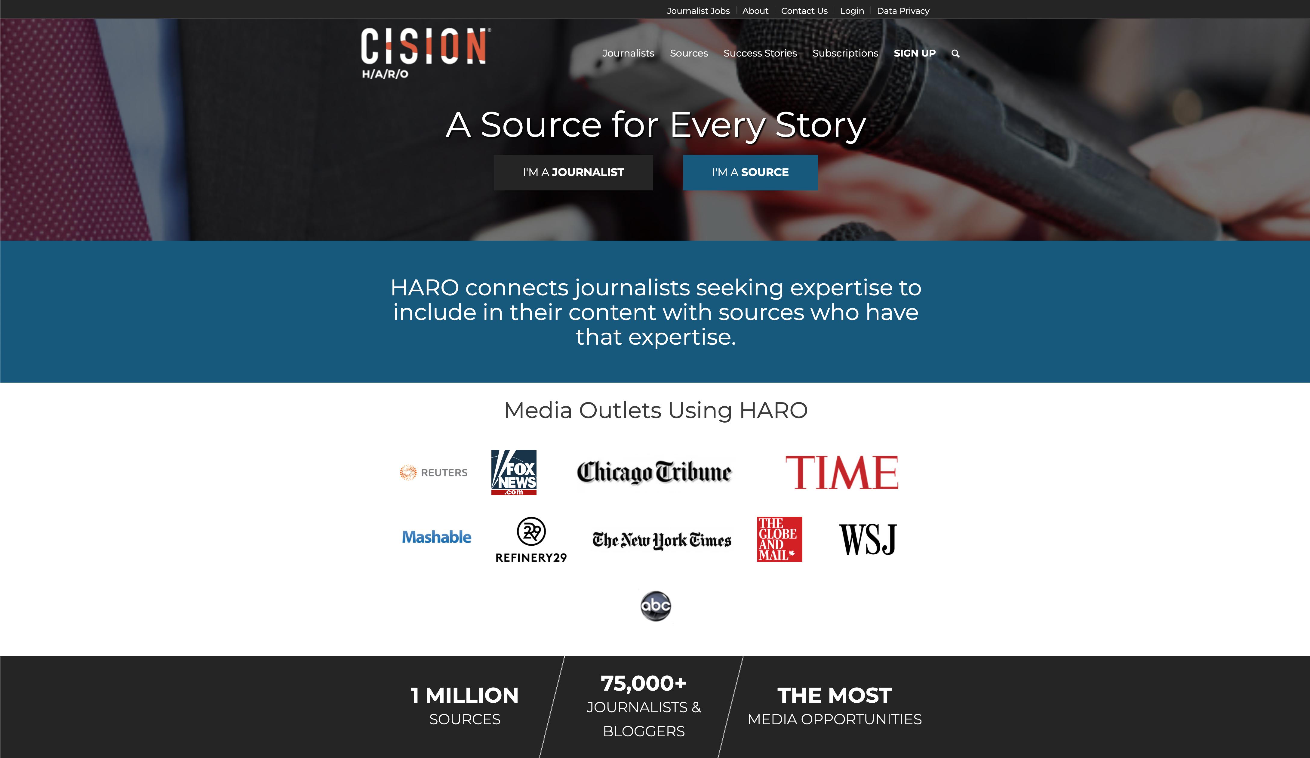 HARO website homepage screenshot