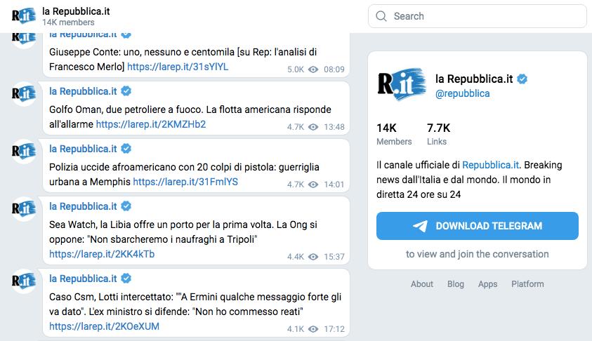 Il canale Telegram della Repubblica.it è uno dei migliori modi per essere informato