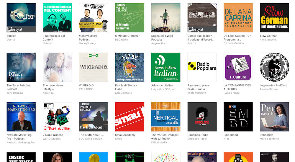 Come appaiono i podcast in una directory consultata dal desktop