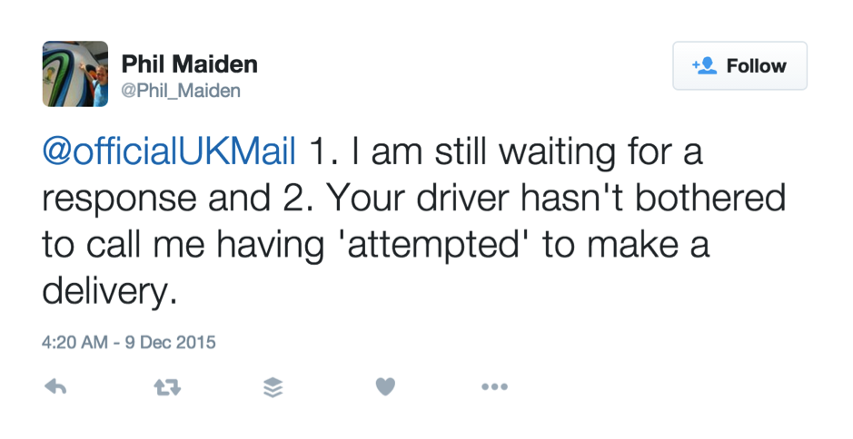 Tweet with complain from unsatisfied customer with regards to delayed delivery