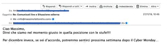 caso studio ecommerce: la mail del cliente