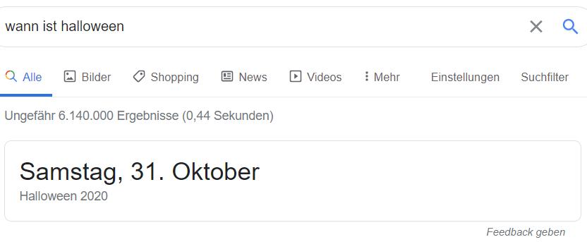 Ein Datum als Direktantwort
