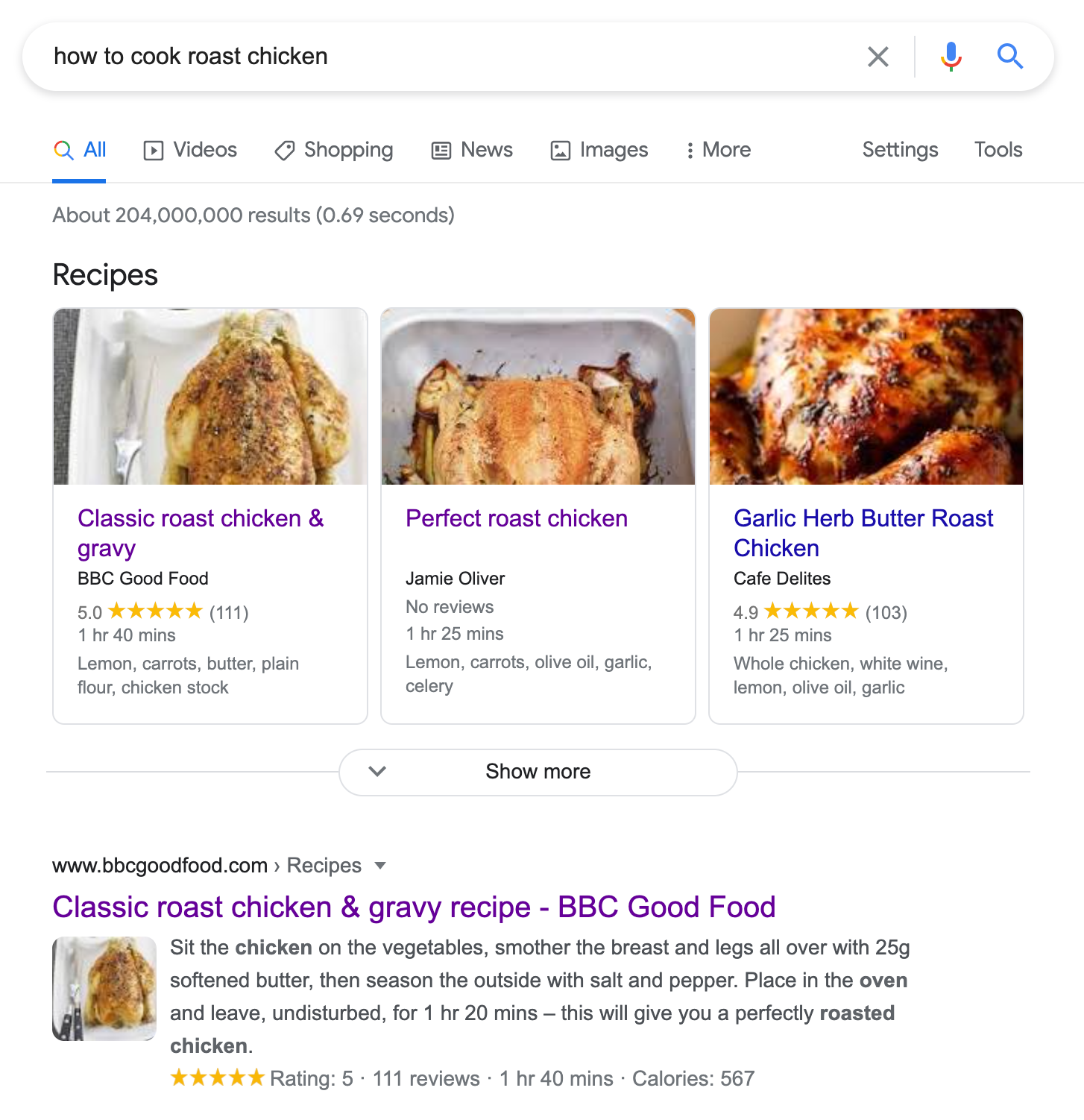 recipe snippet on serp