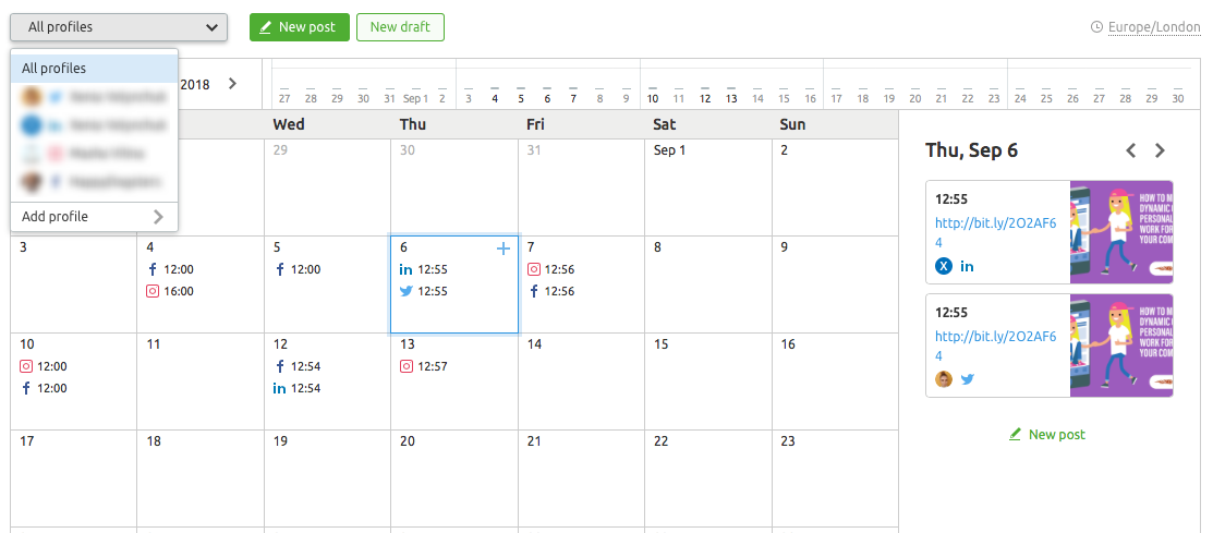 semrush social media calendar