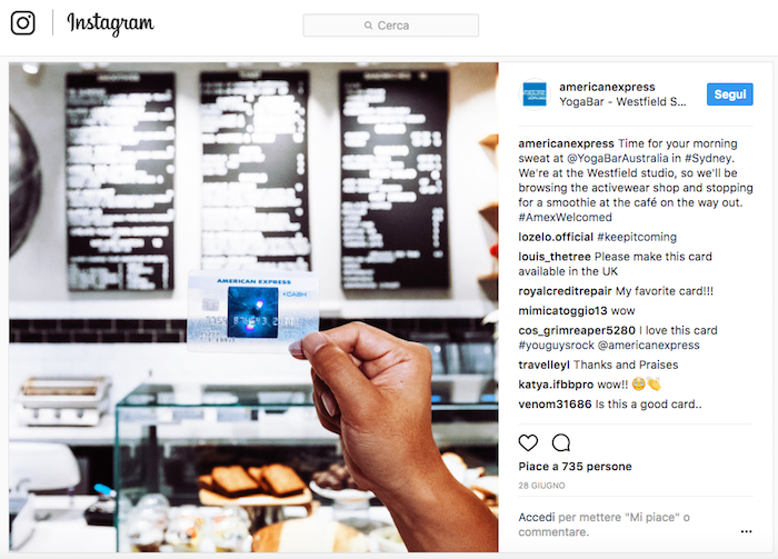 American Express e le partnership su Instagram