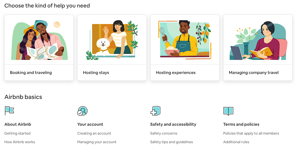 Airbnb Questions on their help center page