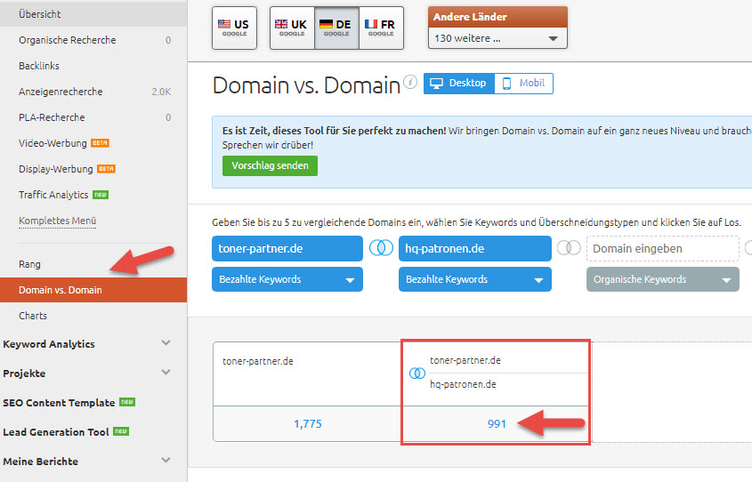 Domain vs. Domain SEMrush Funktion