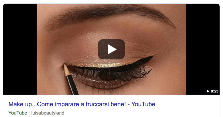 Featured snippet video da Youtube nelle serp di Google