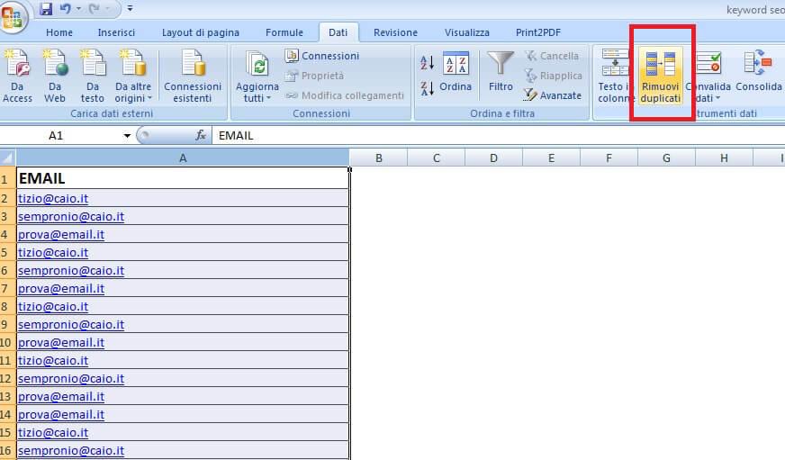Campagna AdWords: come usare Excel per pulire la tua lista clienti