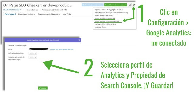 Conecta Analytics & Google search console & SEMrush - On page SEO checker