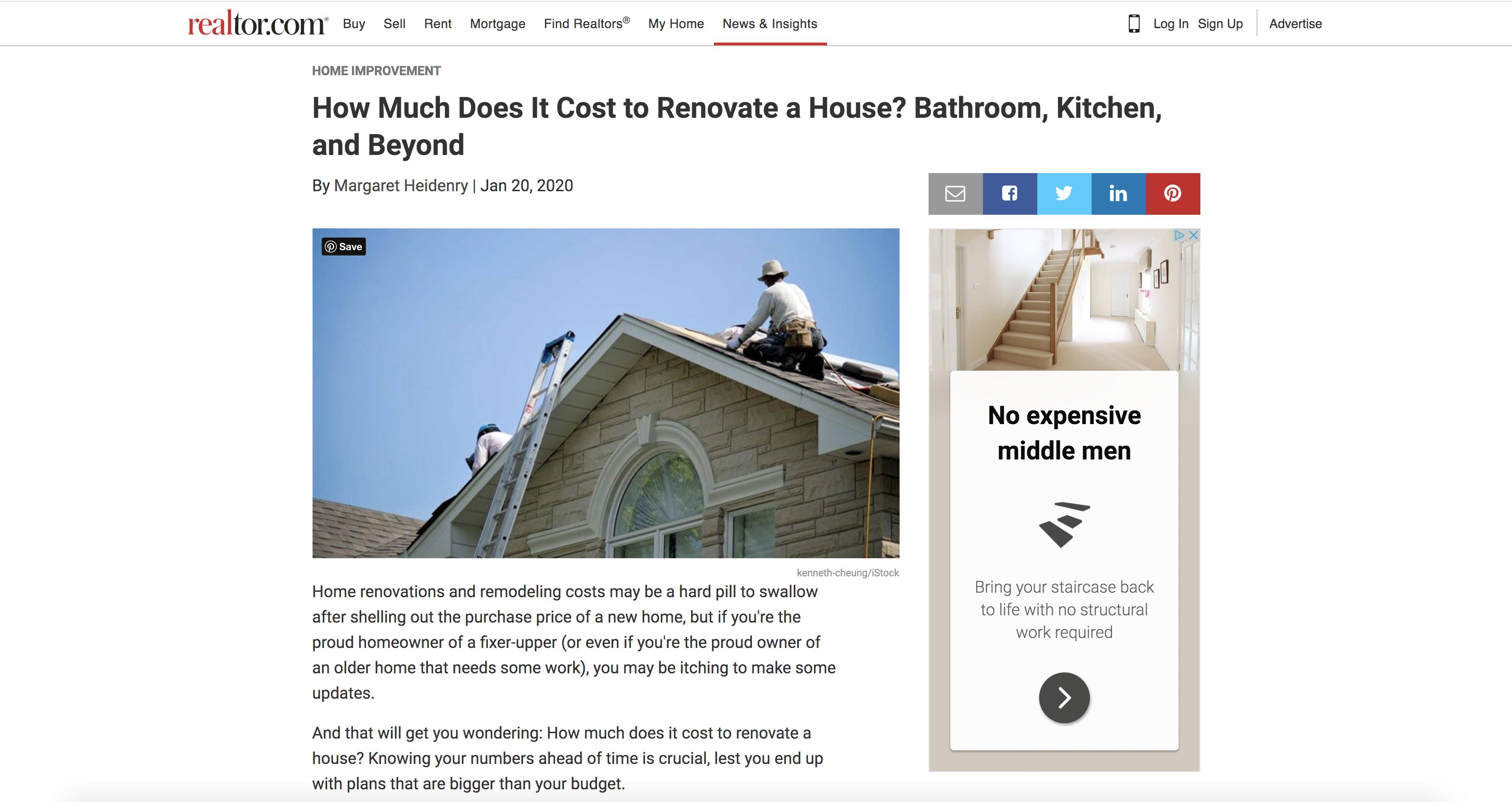 realtor.com house renovation post screenshot