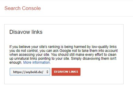 Search Console - Disavow Links