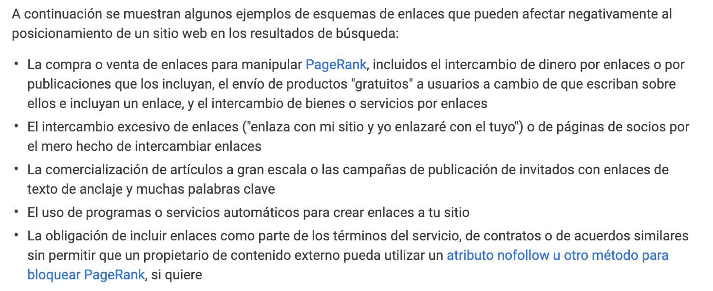 Penalizaciones Google - Ejemplos de esquemas de enlaces