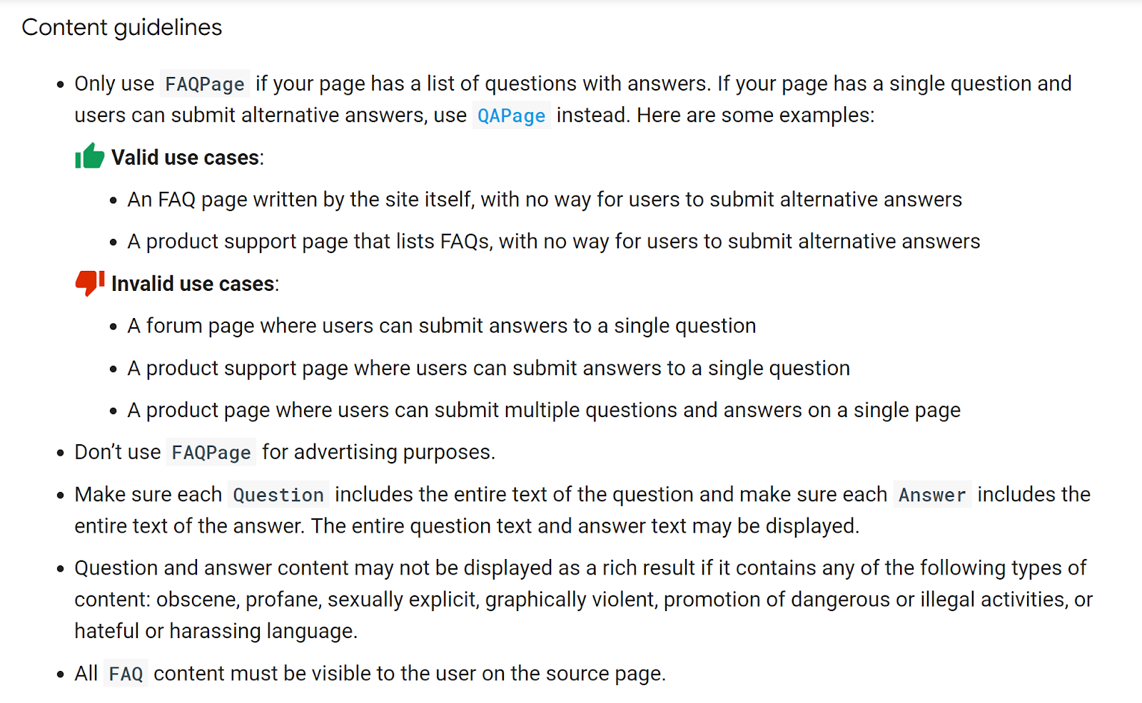 Google Content Guidelines - FAQ