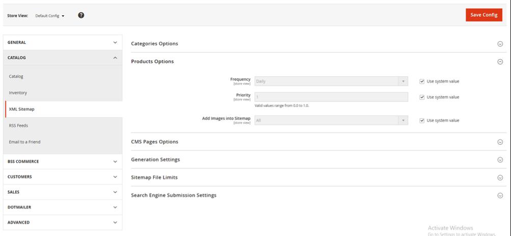 come configurare sitemap ecommerce con magento2 seo extension